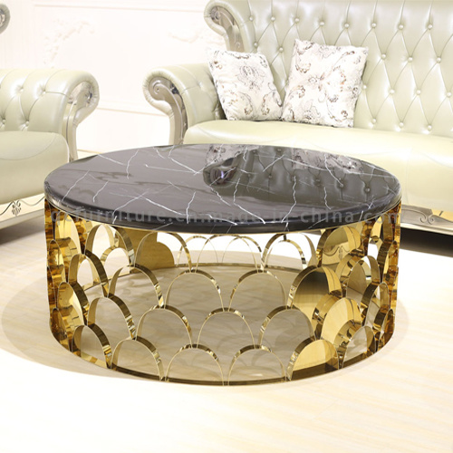 2016 Modern latest Round Golden Stainless Steel Coffee Table