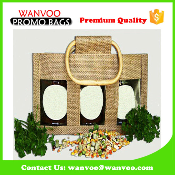 Wholesale High Quality Jute Wine Bag for Three Bottles