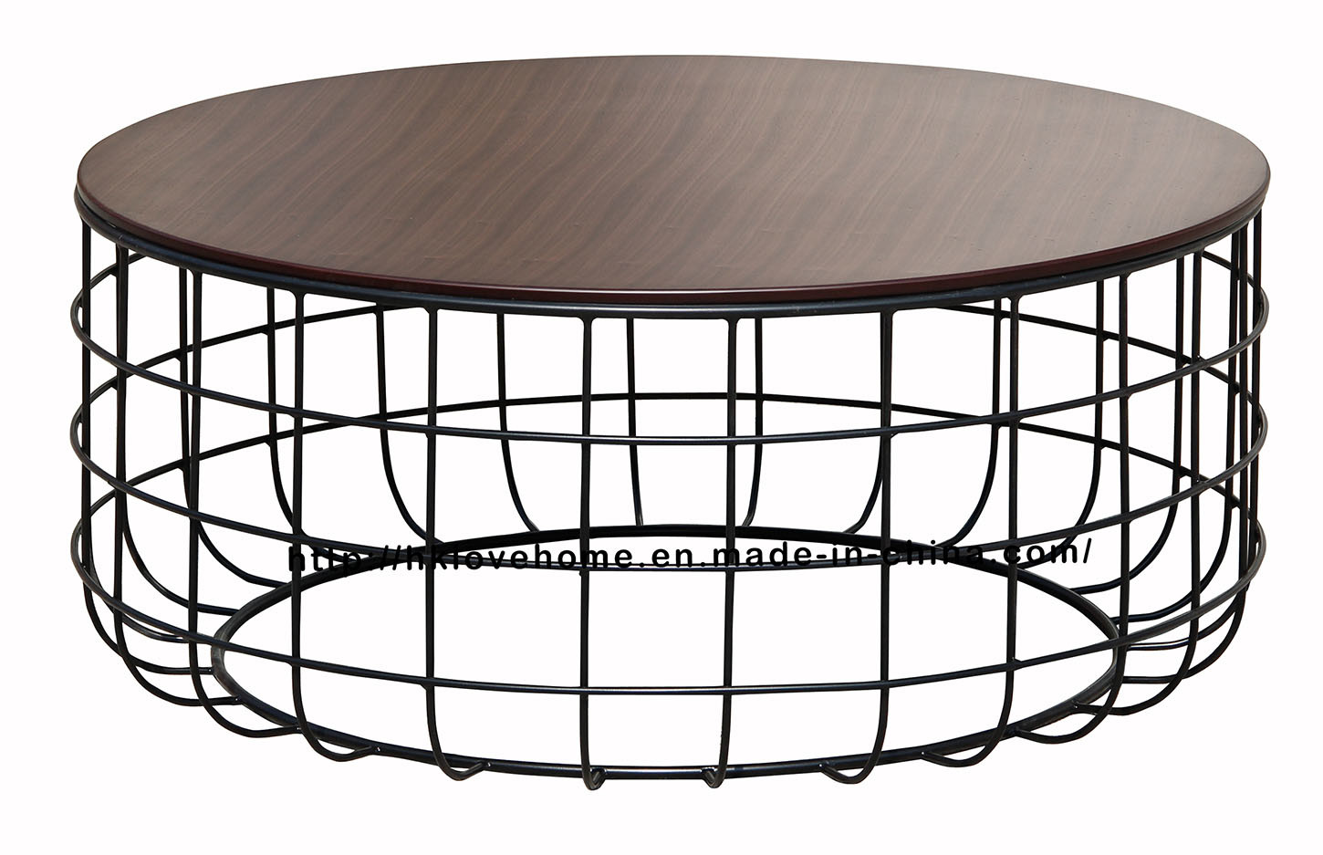 Morden Dining Coffee Green Metal Wire Wooden Top Table