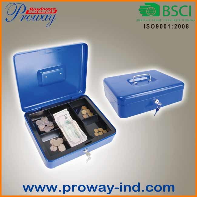 Convenient Metal Cash Box with Removrable Tray