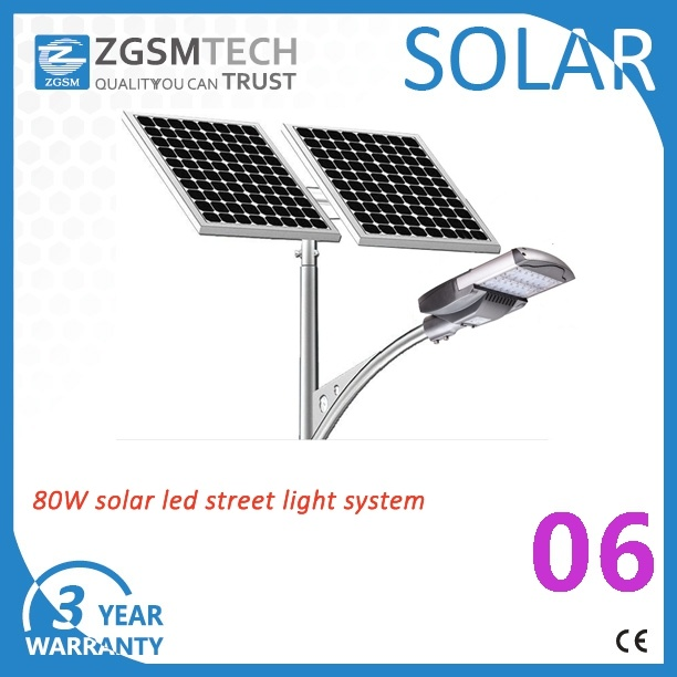 Zgsm Factory 8m Pole 80W LED Solar Lamp Outdoor 40W-120W