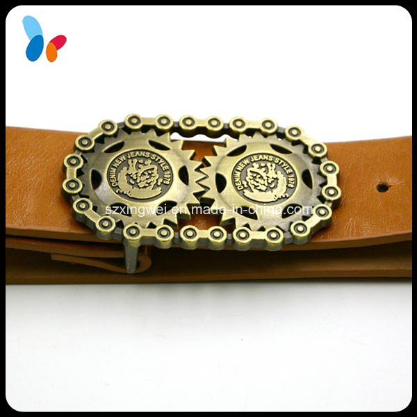 Custom Individual Antique Brass Buckle Vintage Leather Belt