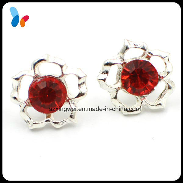 Red Rhinestone Decoration Alloy Metal Shank Shirt Button