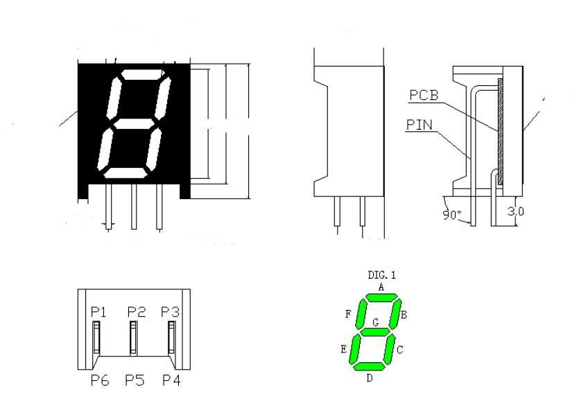 Bended Pins Custom 7 Segment LED Display