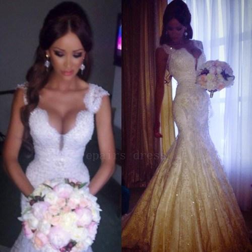 china 2014 sexy low back mermaid lace beaded wedding dress