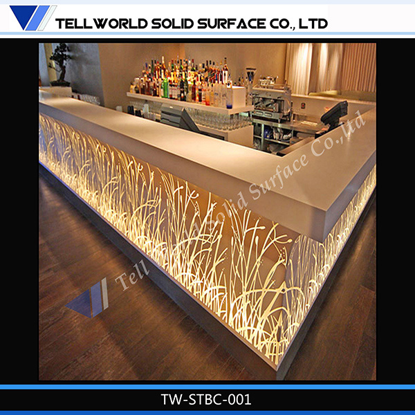 China new design marble stone led night club commercial Bar counter design