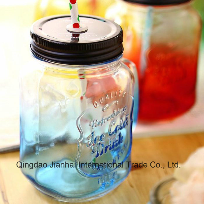 Hot Selling Glass Bottle Mason Jar with Handle