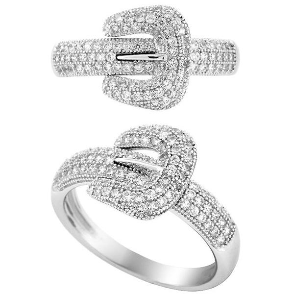 Fashion Belt Bukle Shape Rings 925 Silver Jewelry Micro Setting
