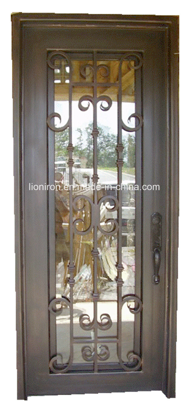 House Custom Iron Single Exterior Doors with Tempered Glass