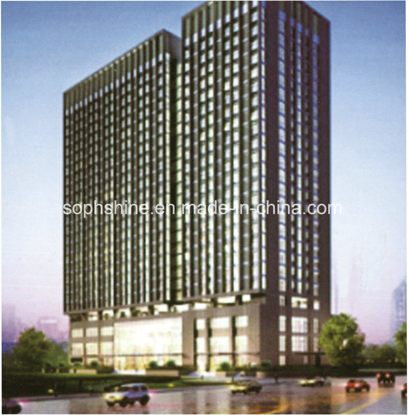Insulated Glass Curtain Wall New Design with Built in Motorized Venetian Blinds