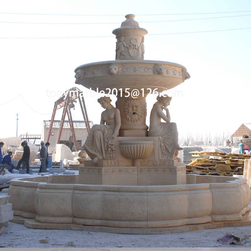 Beige Stone Sculpture Water Fountain (SY-F039)