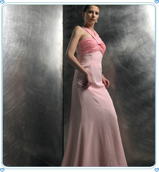 High End Pleated Halter Neck Pink Womens Fashion Evening Dress for Party
