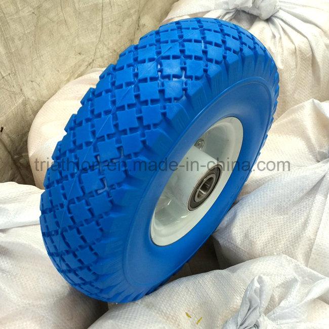 10X1.75 10X2 10X2.125 10X3 10X5.5 Ribbed Flat Free PU Foam Tire with Plastic Spoked Rim