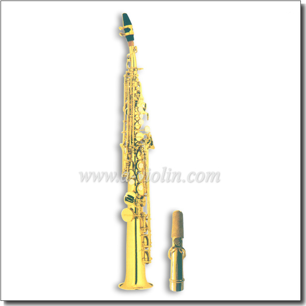 Gold Lacquer High F# Bb Key Straight Soprano Saxophone (SP2011G)