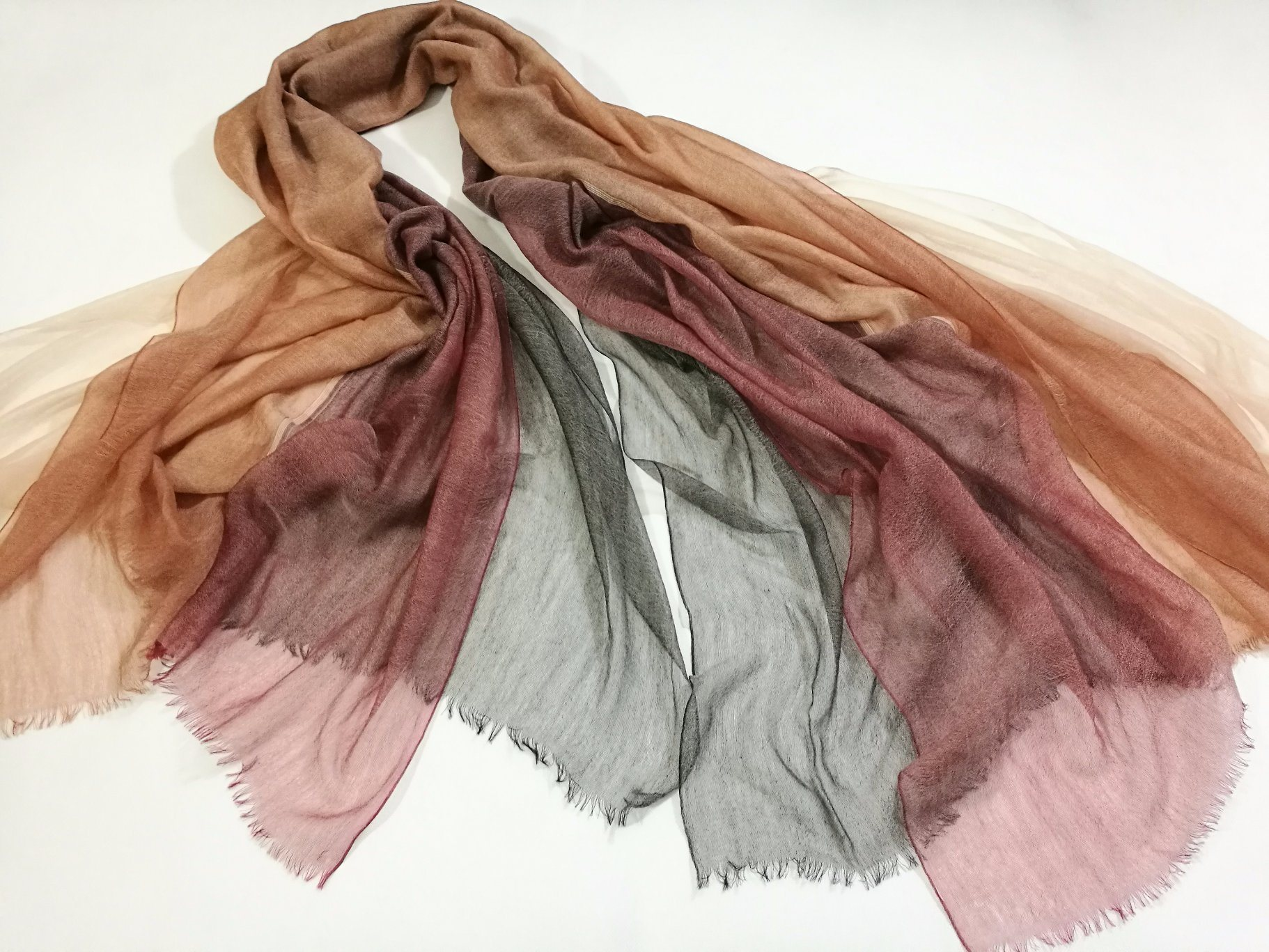 Chiffon Cashmere Wool Abcd Layers Shawl