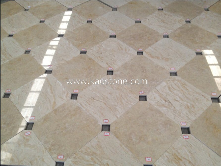 Polished Natural Beige Stone Marble Flooring