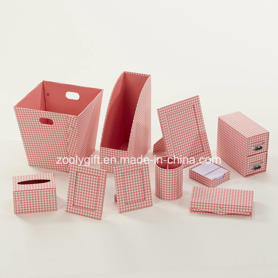 Stripe Printed Paper Cardboard Desktop Organizer Office Stationery Set