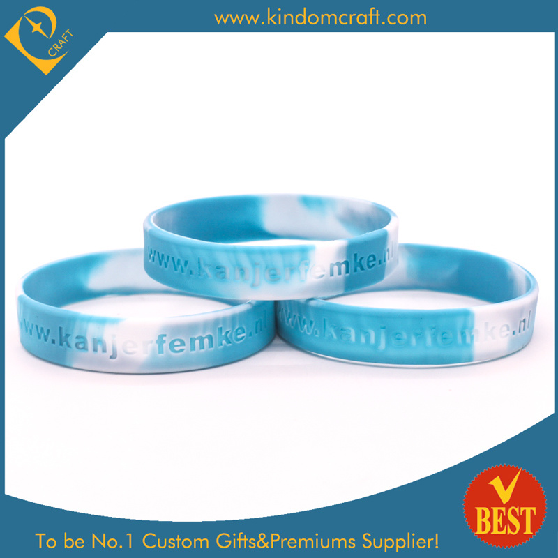 Customized Logo Wholesale Swirl Color Silicone Bracelets in High Quality
