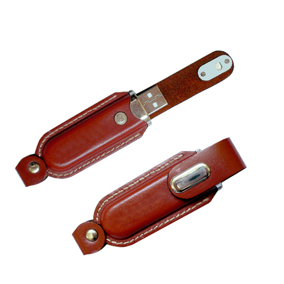 in Stock Full Capacity Leather USB Thumb Drive
