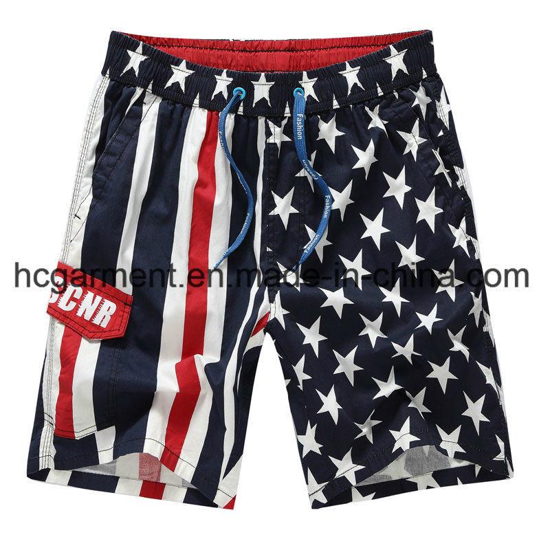 Nylon Fabric Boards Shorts, Man′s Start Printed Beach Shorts