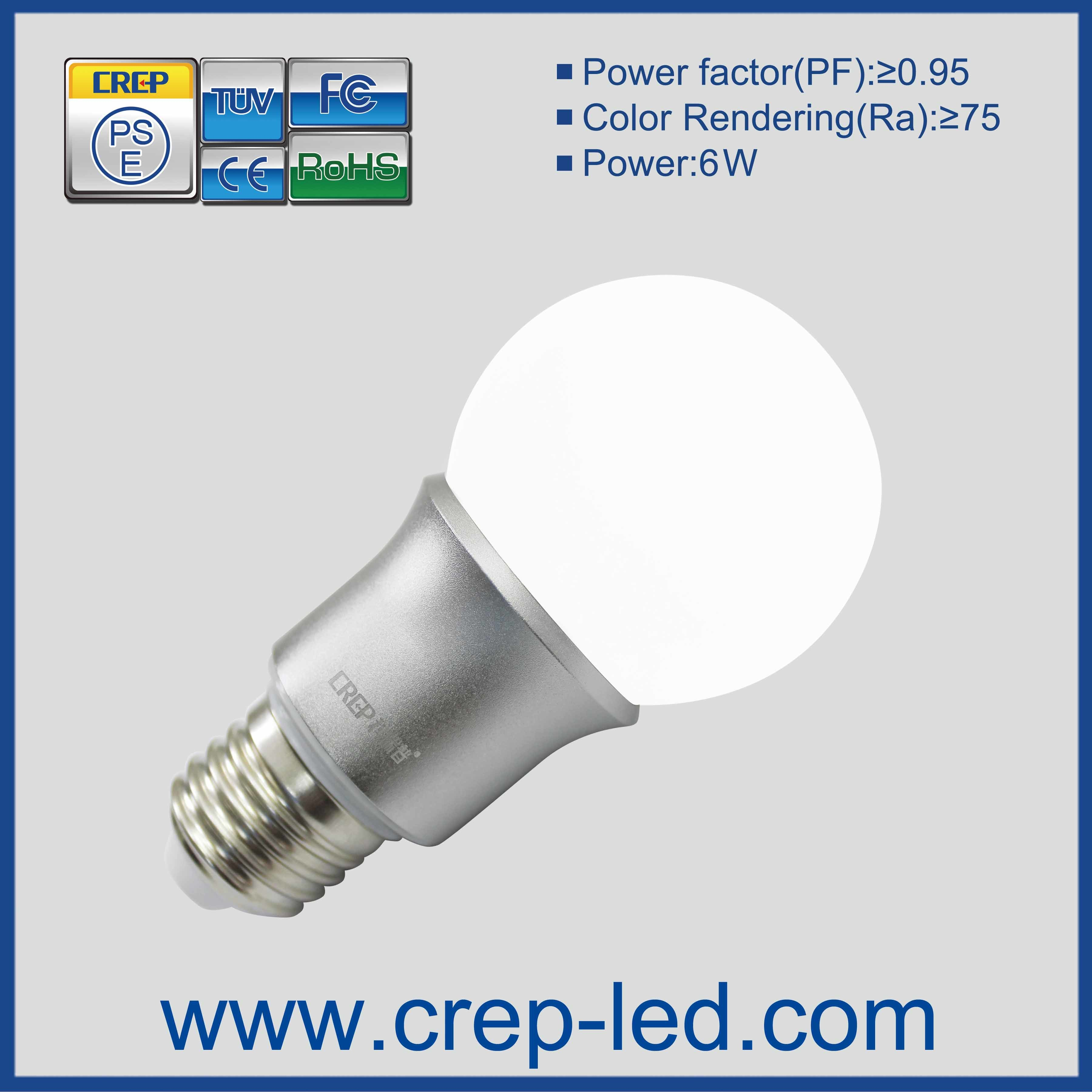 6W UL Dimmable LED Omnidirectional Light Bulb 60W Replacement