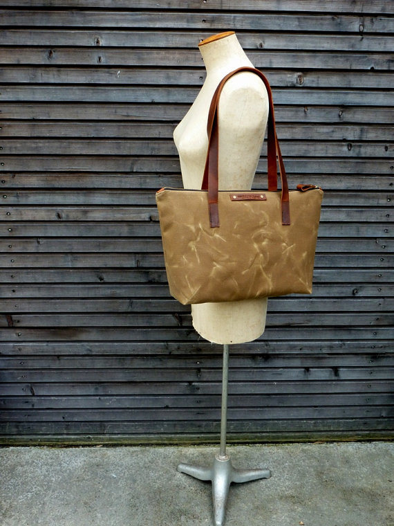 Custom High Quality Waxed Canvas Tote Bag Leather Strap