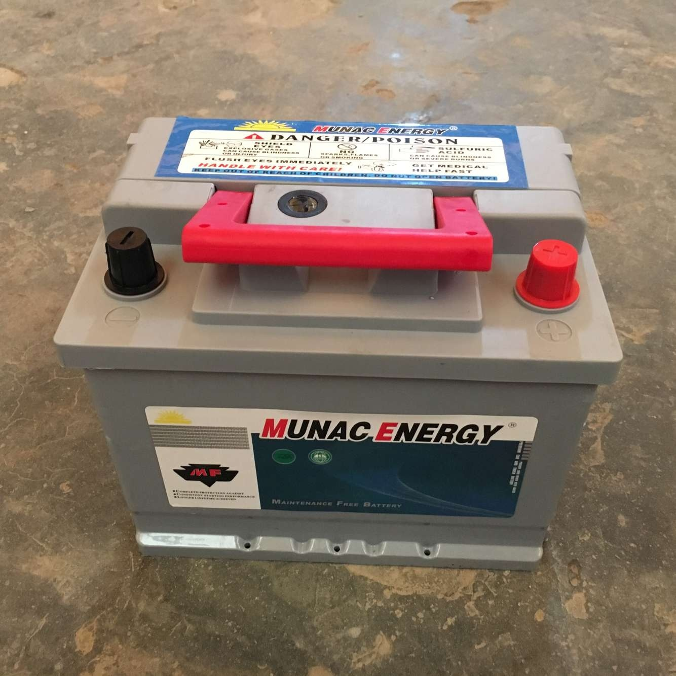 Grey Battery Red Handle New Design DIN45mf Maintenance Free Car Battery