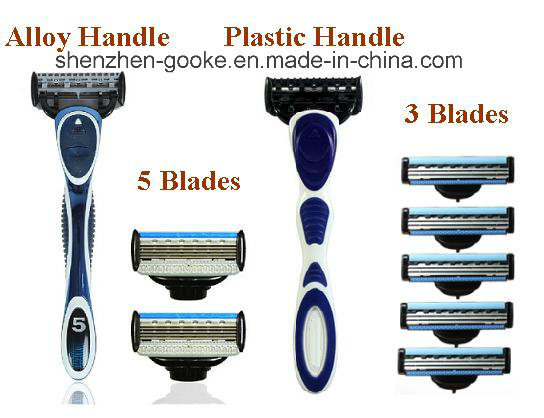 Plastic Shaving Handle with Both 3 Blades and 5 Blades Shaving Razor Compatible
