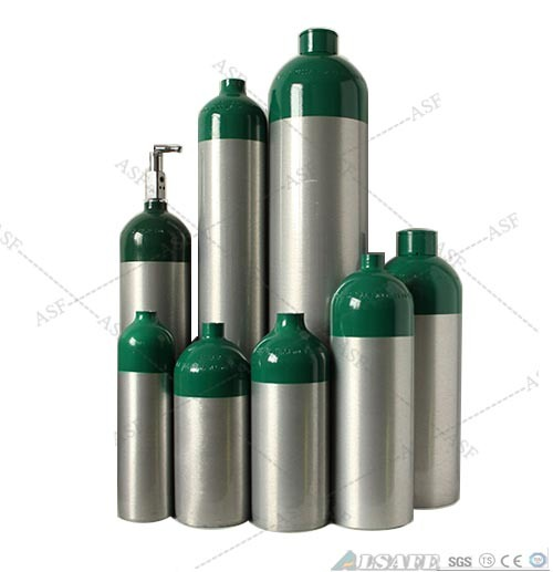 0.5L to 50L Aluminum Medical Oxygen Tanks Pressure