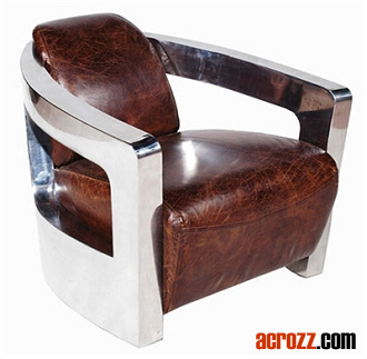 Metallic Stainless Steel Leather Mars Chair Lounge