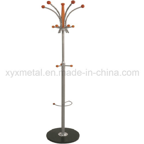 Marble Base Wooden Hanger Metal Rack Hat Clothes Garment Coat Stand