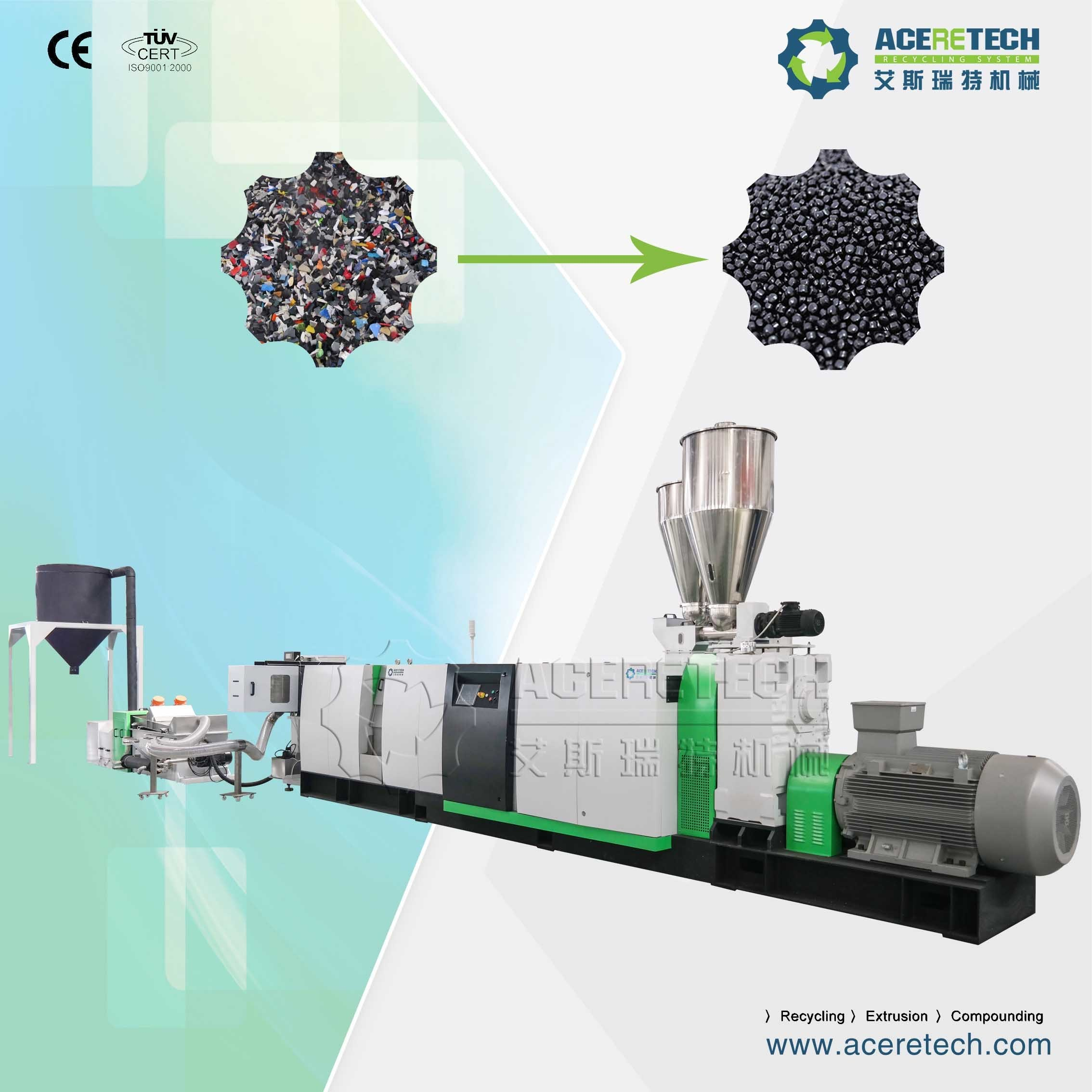 Professional Single Screw Plastic Flakes Recycling and Pelletizing Extruder