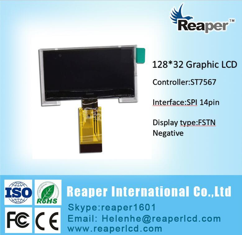 Cog 128X32 Monochrome LCD Display. St7567 Controller. FPC 14pin
