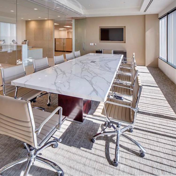 Fancy Meeting Room Curved Arc Big Acrylic Solid Surface Conference Table with HDMI Sockets