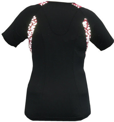Women′s T-Shirt with Allover Reflective Print on Inserted Fabric