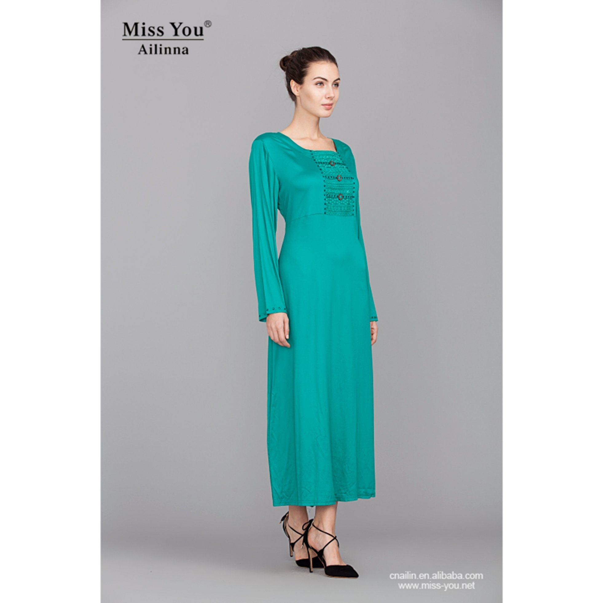 Miss You Ailinna 102589 Ladies Elegant Soft Cyan Long Dress