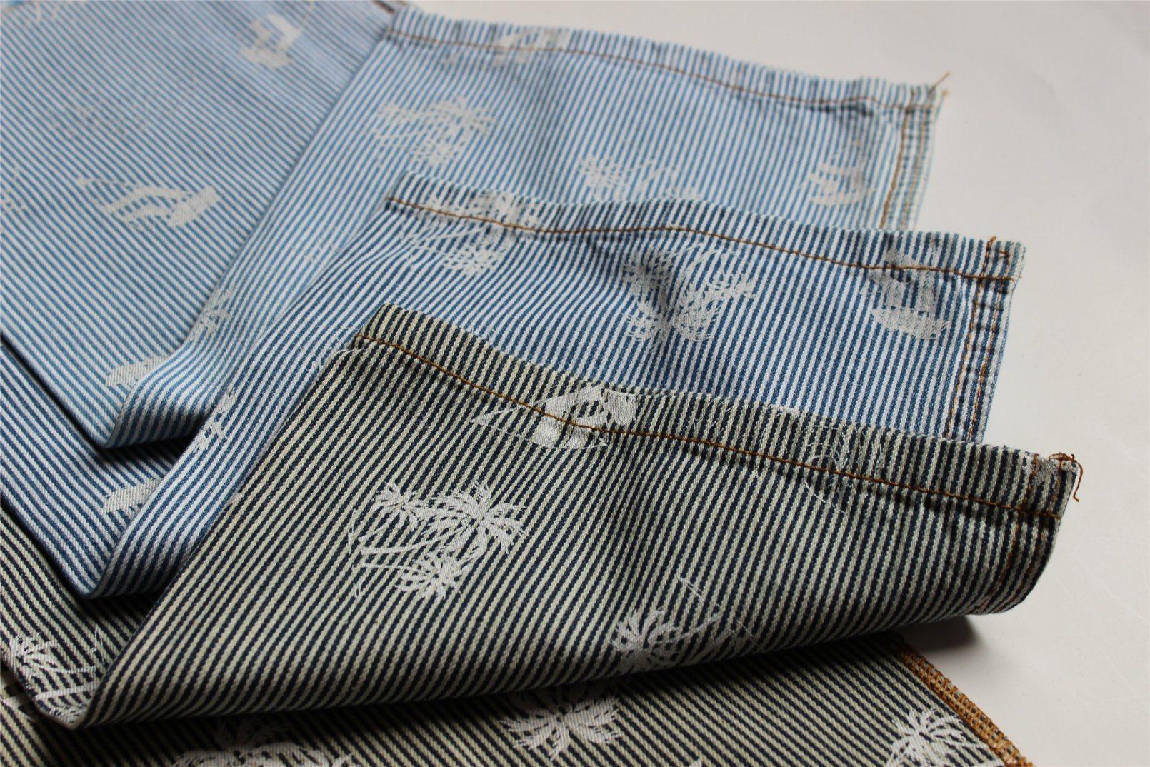 Striped Cotton Denim With Pigment Print