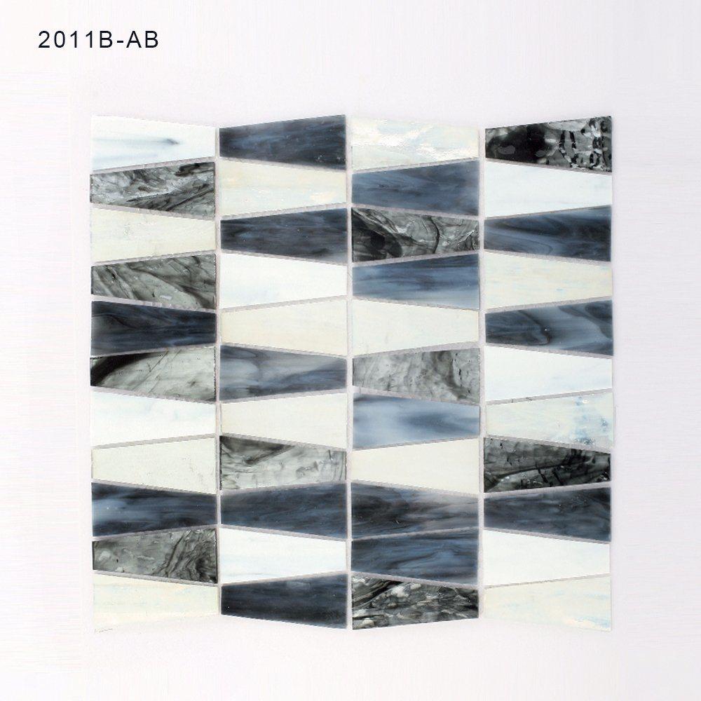 Florida Design Black and White Bathroom Backsplash Glass Mosaic Tile