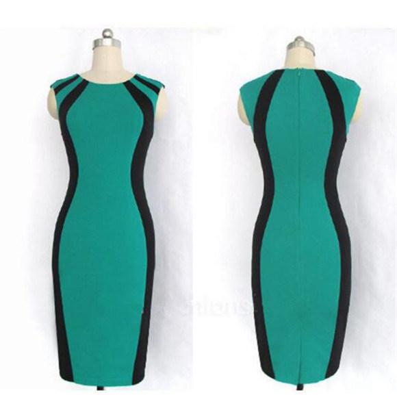 Women High Quality Cotton Tight Office Lady Pencil Dress (Dress 122)