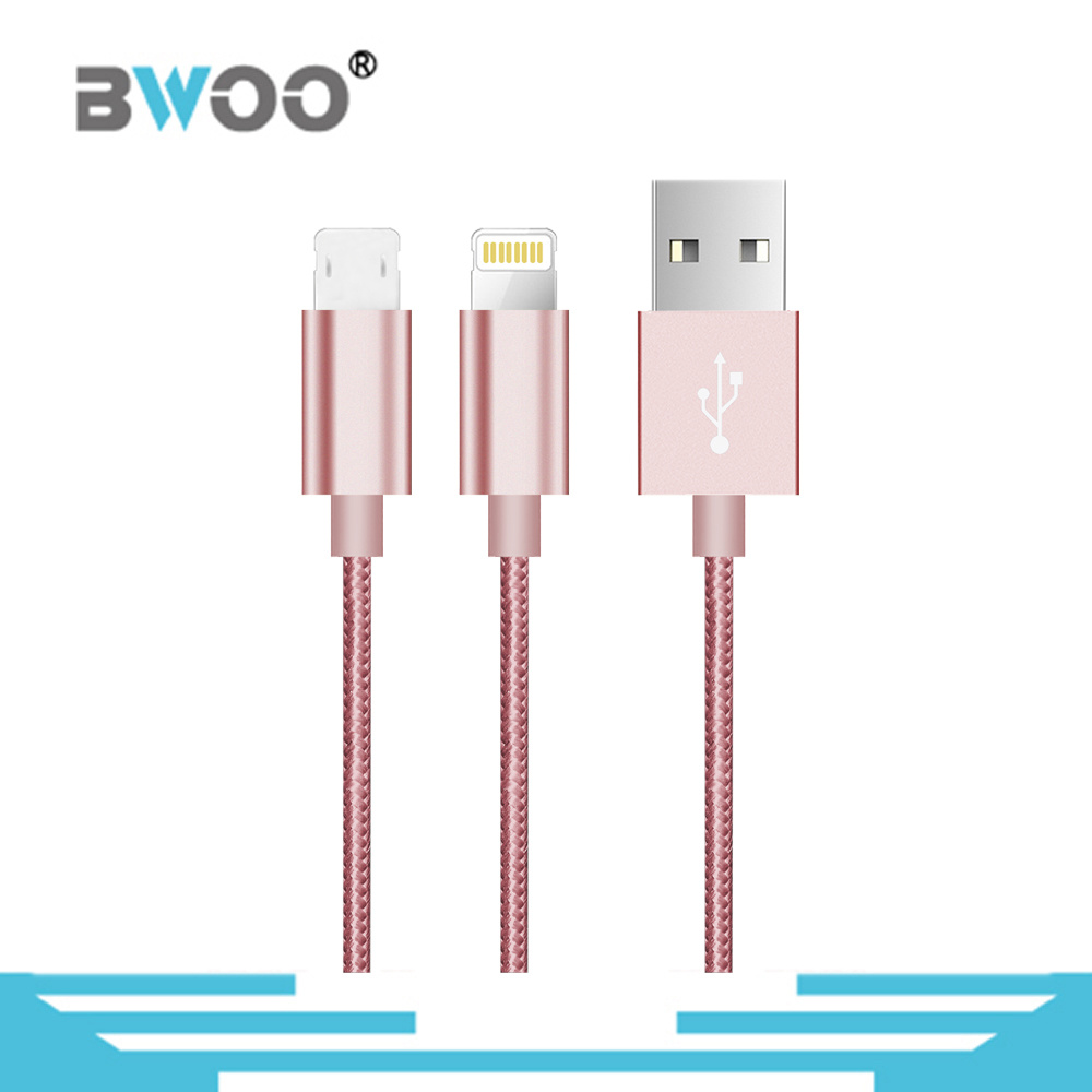 Dual Side Connector Micro Lightning USB Data Cable