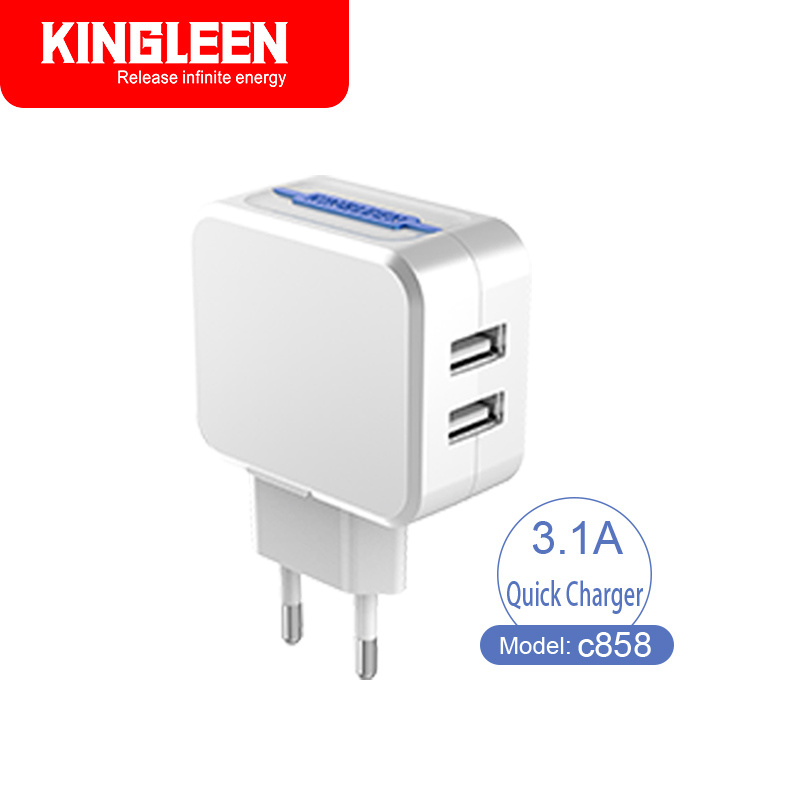 Kingleen C858 Dual USB Intelligent Quick Charger 5V-3.1A Combo Produced by The Original Factory Export to Europe