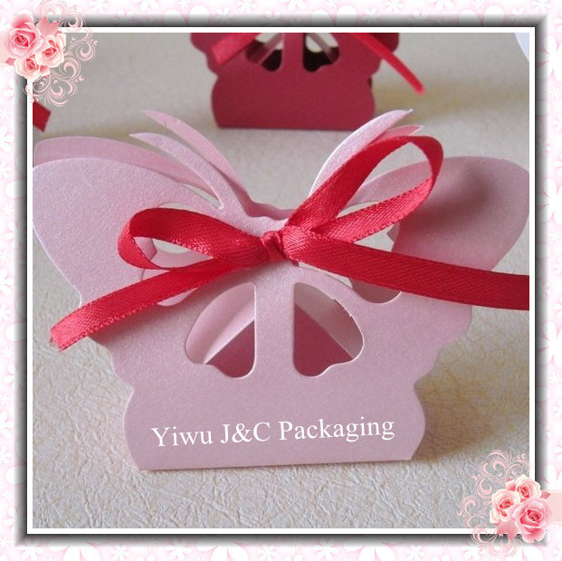 Metallic Pink Butterfly Style Wedding Candy Box JCO402D