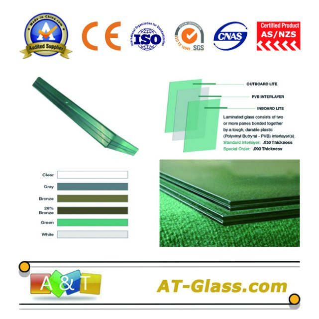 Laminated Glass/Building Glass /Float Glass/Toughened Glass/PVB Thickness: 0.38mm, 0.76mm, 1.14mm, etc