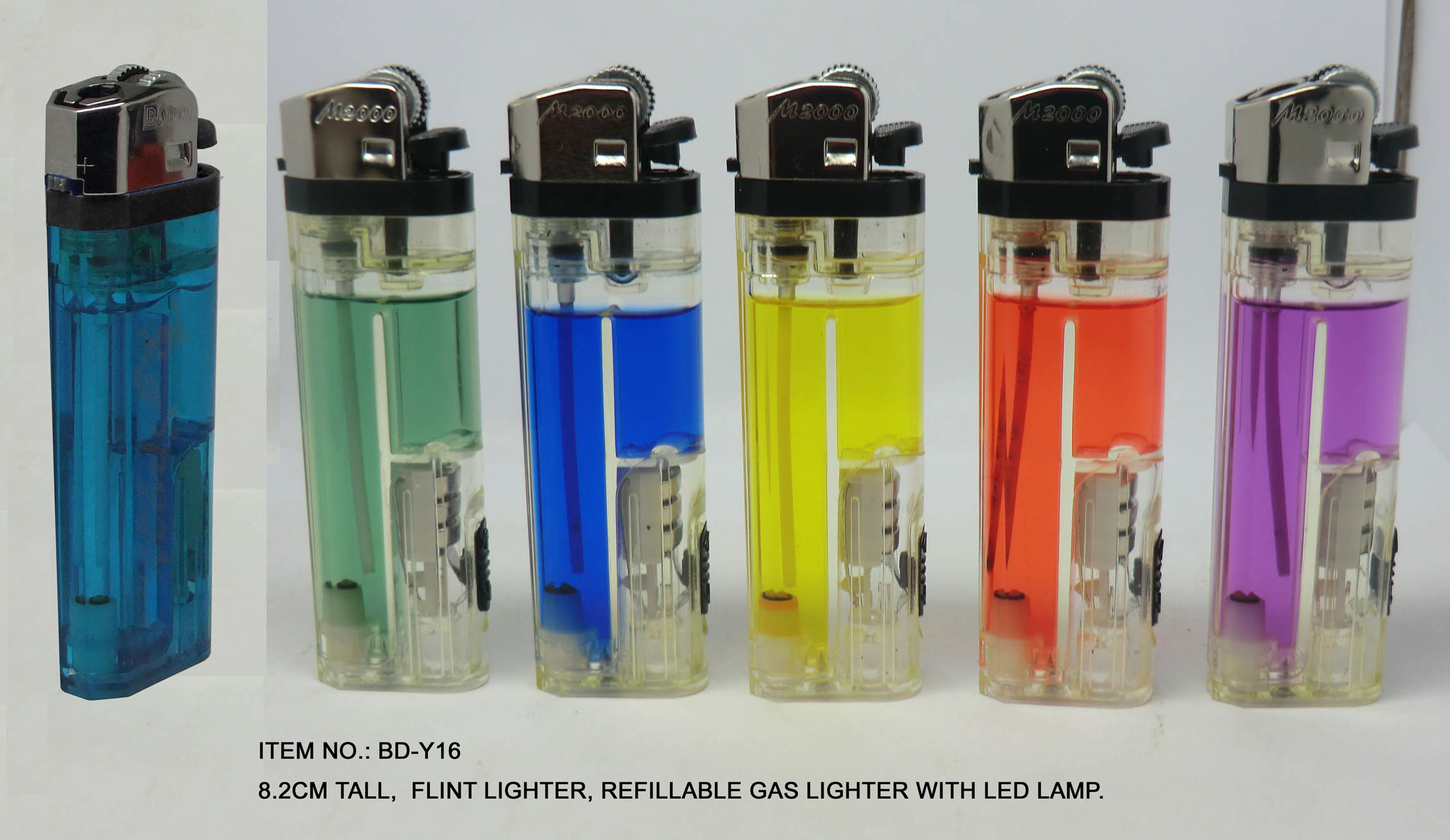 Flint Lighter, Refillable Gas Lighter With LED Light, Baida Lighter (BD-Y16)