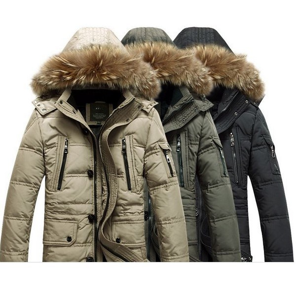 Solid Winter Coat Men Hooded Down Jacket Fashion Soft Warm Parka
