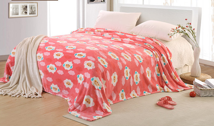 Super Soft Solid/Printed Flannel Blanket Sr-B170219-20 Solid/Printed Coral Fleece Blanket