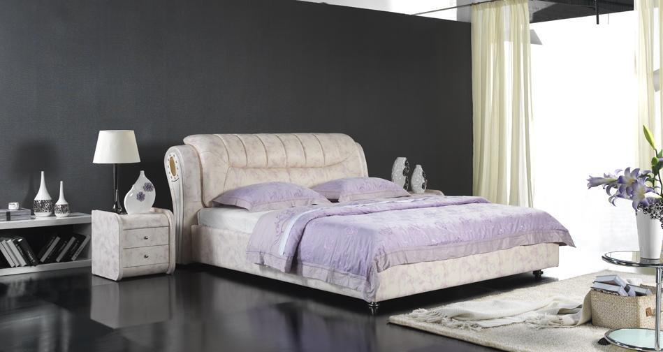 Lit mou en cuir moderne, meubles de chambre à coucher (6007) –Lit mou en cuir