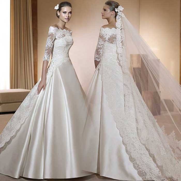 China lace wedding dresses korea satin bridal ball gowns a for 3 4 sleeve ball gown wedding dress