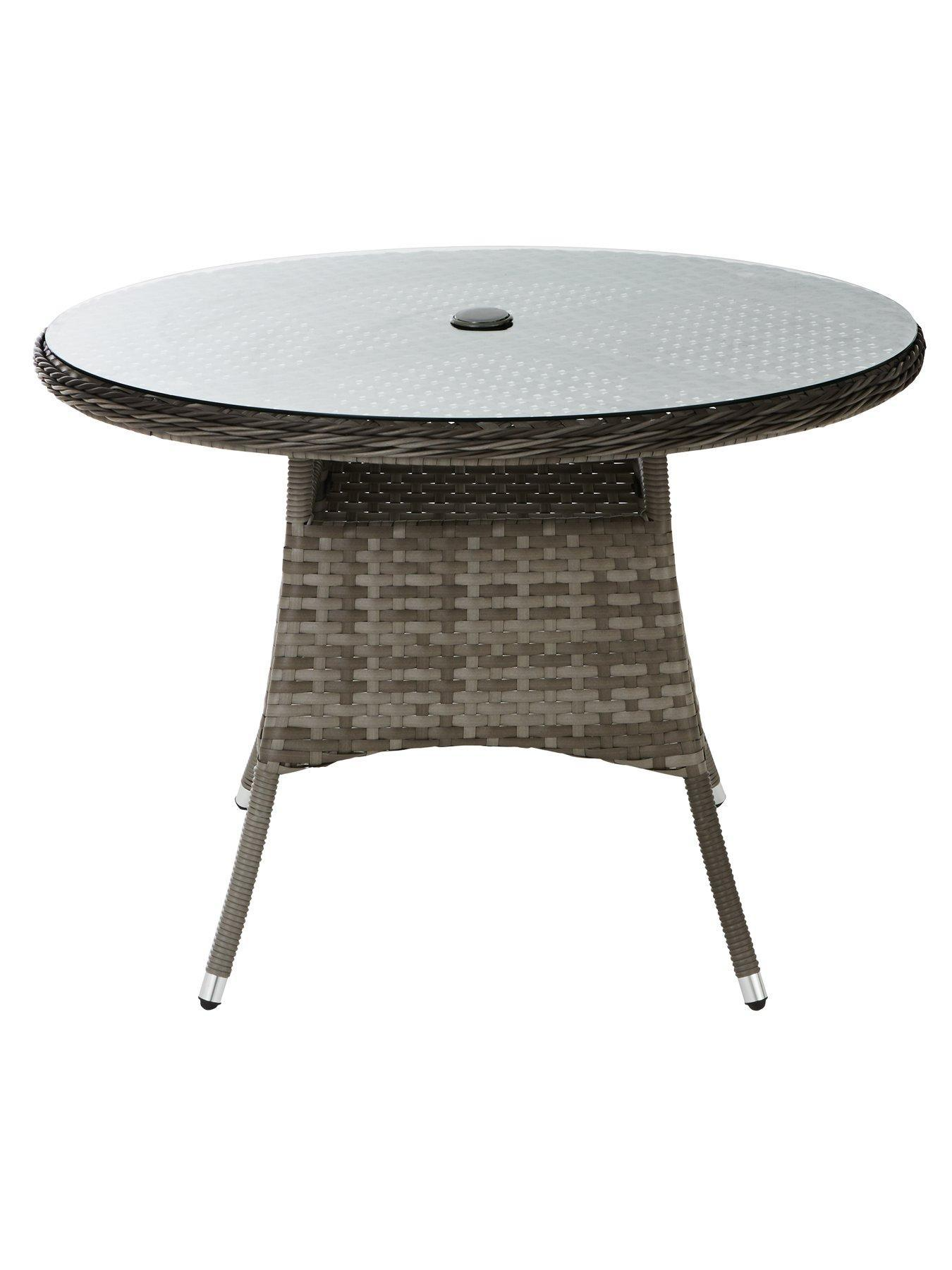 Grey Color Stylish Chair & Round Tables Durable 5 Piece Rattan Dining Set