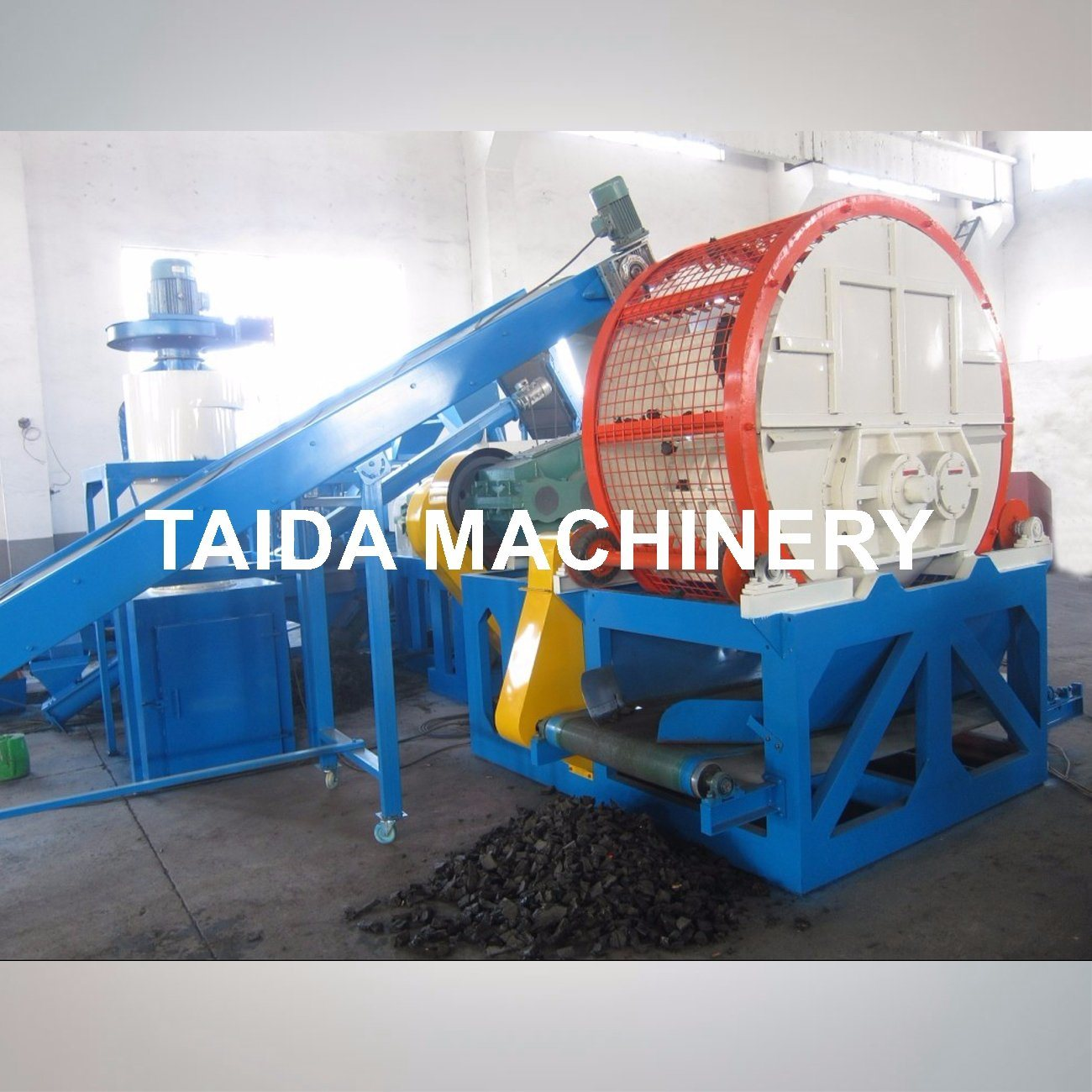 Two Roll Rubber Shredder for Tire Recycling Production Line